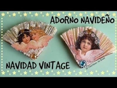 Adornos para el Árbol de Navidad, Abanico con Ángeles Vintage, Adorno Navideño Vintage