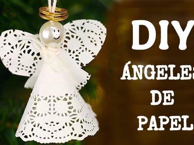 Ángeles de papel para poner en tu árbol de Navidad