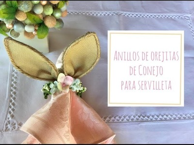 Anillos de pascua para servilletas.anillos de orejas de Conejo