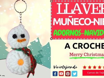 Aprende a tejer Llavero de hombre de nieve a crochet   Tutoriales de Adornos navideños