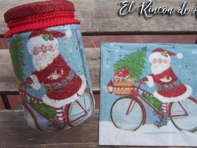 Bote de cristal con decoración navideña, reciclado con decoupage y glitter-Diy - manualidades