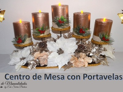 Centro de Mesa con Portavelas. Centerpiece with candle holder.