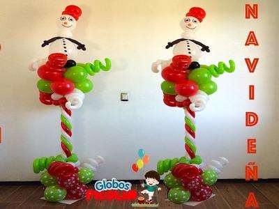 Columna para navidad con globos - ideas para decorar con globos #85
