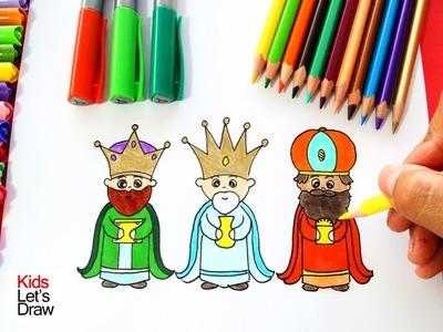Cómo dibujar a los REYES MAGOS de manera fácil | How to draw the Three Wise Men