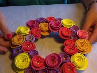 COMO HACER ARO DE FLORES EN GOMA EVA DIY | Rosiclarte