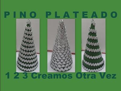 COMO HACER PINO NAVIDEÑO PLATEADO Árbol de Navidad con material reciclado. Manualidad con envolturas