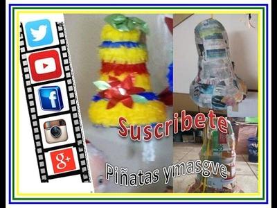 Como hacer una piñata de campana con tiraas de carton (utilize caja de cereal)