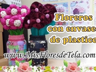 Como reciclar Frascos de Plástico - Realiza un Arreglo Floral con Flores de Tela
