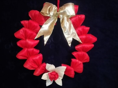 Corona navideña con  hoja de maíz(totomoxtle o choclo )