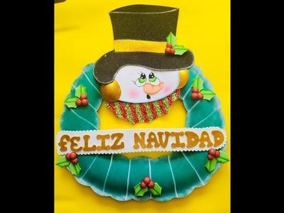 Corona Navideña paso a paso - Craft DIY manualidad navidad en foamy.goma eva.microporoso