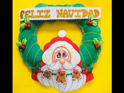 Corona Noel Navideño paso a paso - Craft DIY manualidad navidad en foamy.goma eva.microporoso