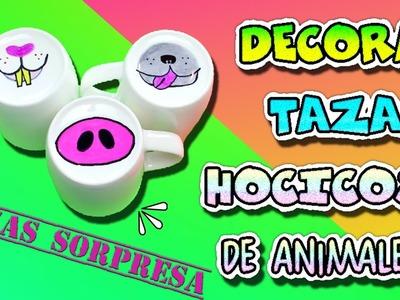 Decorar Tazas con morro de animales | Conejito, cerdito y perrito | Mugs sorpresa !