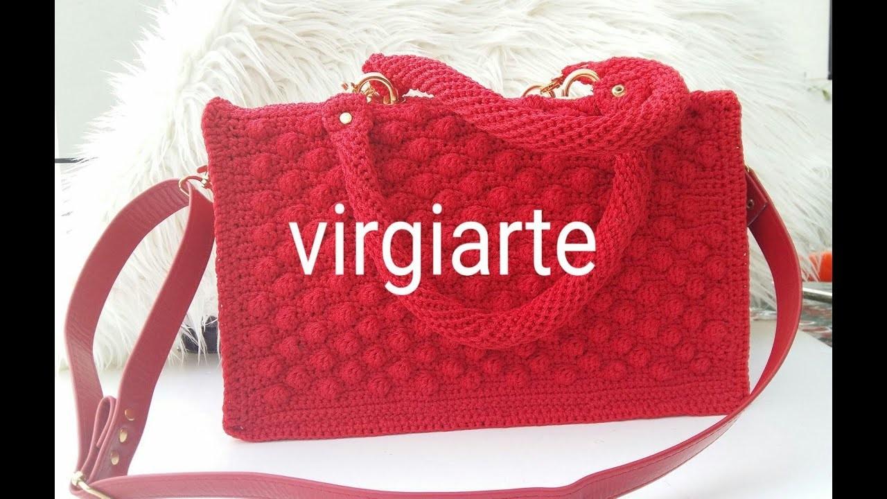 "#DIY#Tutorial  Bolso ROJO, Puntada Burbuja "" San Valentin"",Red Crochet Bag"