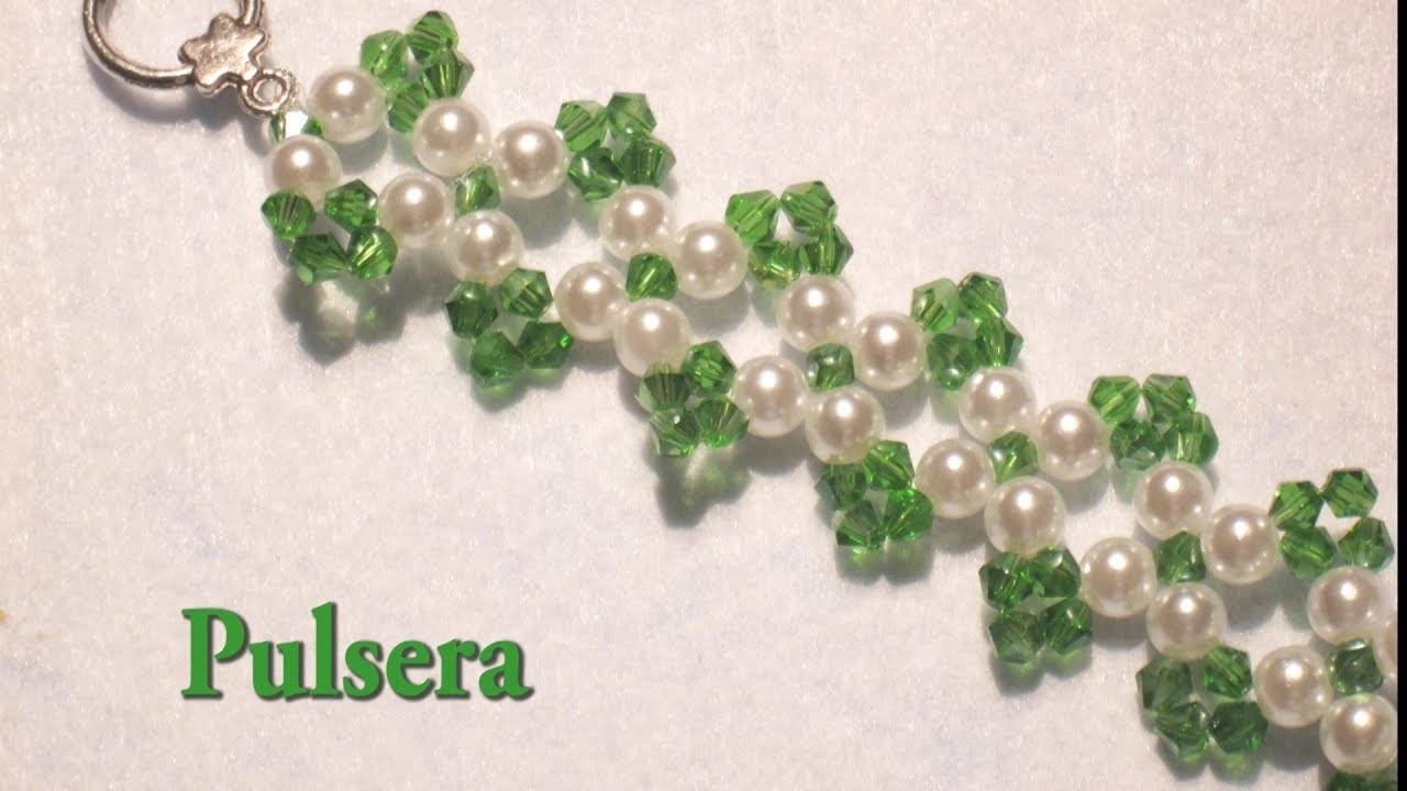 DIY -Tutorial pulsera swarouskis verdes y perlas