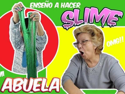 ENSEÑANDO A MI ABUELA HACER SLIME BRILLANTE DIY! Making Glitter Slime Grandma!! Momentos Divertidos