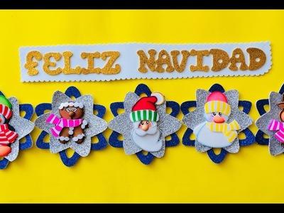 Guirnaldas Navideñas paso a paso - Craft DIY manualidad navidad en foamy.goma eva.microporoso