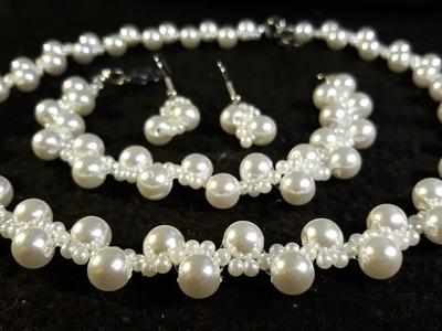 Hermoso Juego de Pulsera y Collar de Perlas. Clase #78!!!