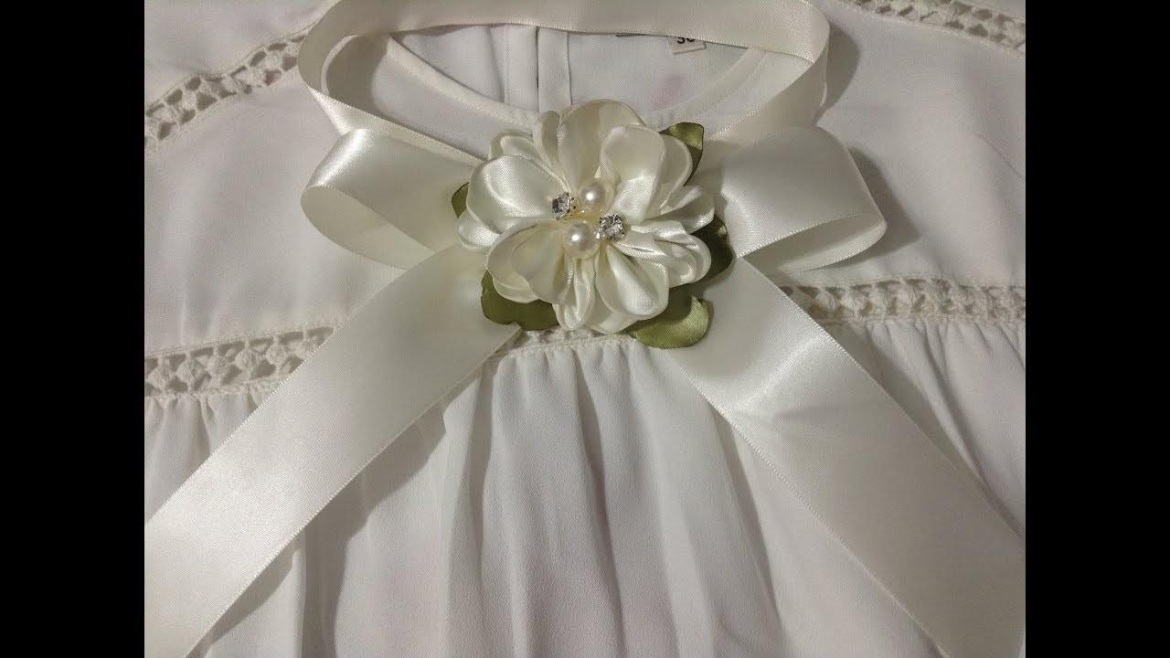 Lazo sencillo con flor  para cuello de blusa VIDEO No. 495