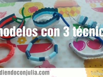 Manualidad para niños: Pulseras con pajitas de colores