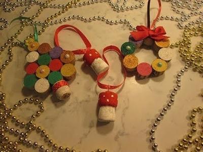 Manualidades con corchos para Navidad.Tutorial Adornos con corchos reciclados para tu arbol