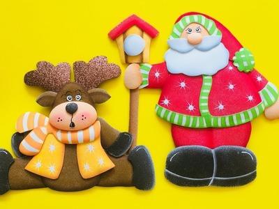 Papa Noel, Pajarera y Reno paso a paso - Craft DIY manualidad navidad en foamy.goma eva.microporoso