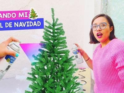 PINTANDO mi ÁRBOL DE NAVIDAD con SPRAY | Decorando para navidad ♥ Craftingeek Vlog