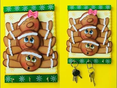 Porta Llaves Navideño paso a paso - Craft DIY manualidad navidad en foamy.goma eva.microporoso
