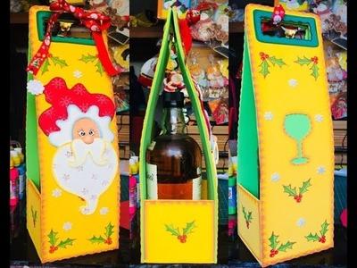Porta Vino Navideño paso a paso - Craft DIY manualidad navidad en foamy.goma eva.microporoso