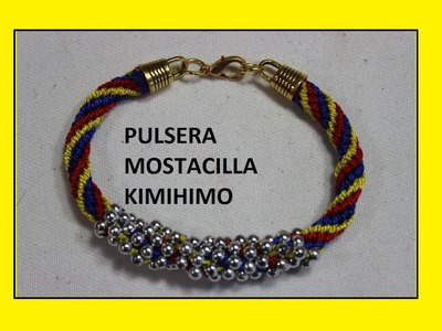 PULSERA MIXTA KUMIHIMO Y BALIN DE BISUTERIA
