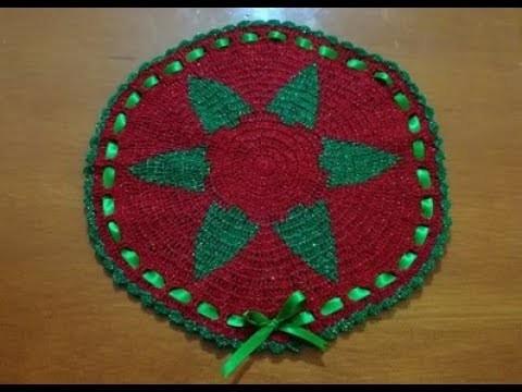 Tapete Redondo a Crochet Navideño Parte 2