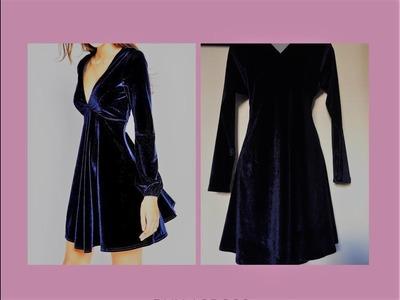Velvet dress. vestido corto de terciopelo con manga larga y escote en  'v'