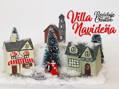 VILLA CASITA NAVIDEÑA -  Decoracion navidad - Reciclaje creativo - colaboracion BeagleArts y Dreen