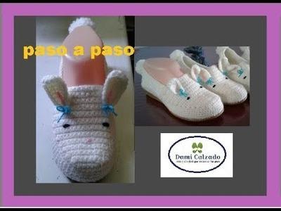 ZAPATO BASICO PARA CUALQUIER OTRO  HECHAS EN PANTUNFLAS CONEJITO crochet