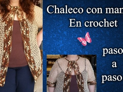CHALECO CON MANGAS 2XL  en crochet PASO A PASO  1 de 2