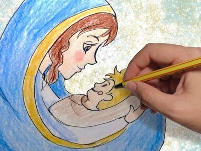 COMO DIBUJAR A LA VIRGEN PARA NAVIDAD: Dibujos de navidad para niños paso a paso facil