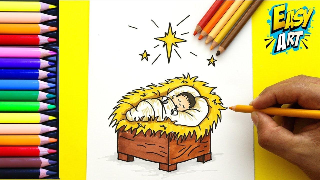 Dibujos De Navidad Con Jesus.Como Dibujar Al Nino Jesus De Navidad Facil How To Draw