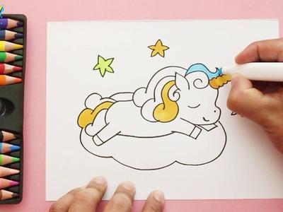 Cómo Dibujar un Unicornio de Arcoiris - how to draw a unicorn rainbow - Coloring unicorn Easy Art