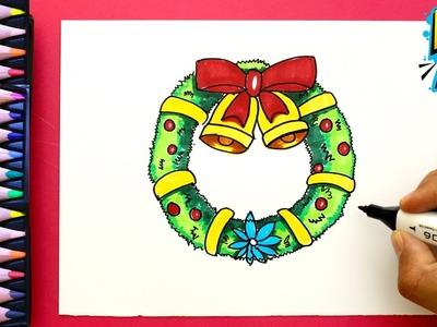 Cómo dibujar una CORONA de Navidad paso a paso - How to draw a Christmas Wreath