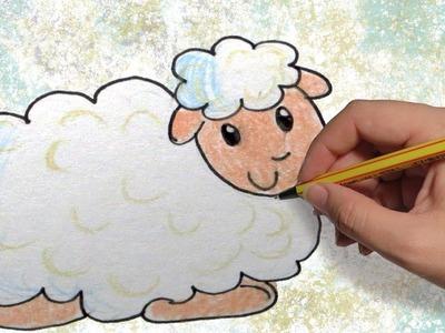 COMO DIBUJAR UNA OVEJA PARA NAVIDAD: Dibujar animales para niños paso a paso