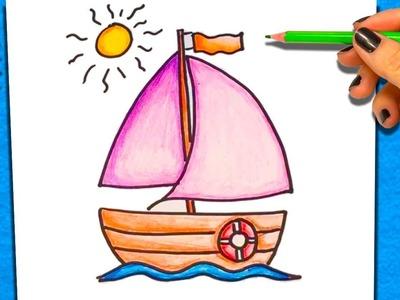 Cómo Dibujar y Colorear un Barco | Dibujos Para Niños | Aprender a colorear