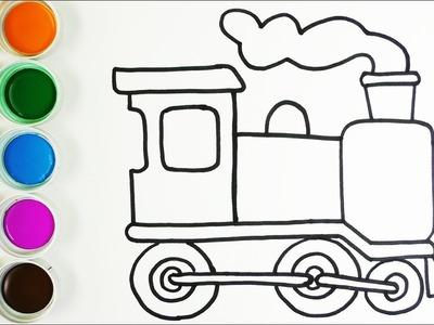 Cómo Dibujar y Colorear Un Tren de Arco Iris - Dibujos Para Niños - Learn Colors. FunKeep