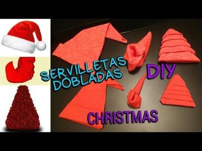 DIY CHRISTMAS. SERVILLETAS DOBLADAS DE SÍMBOLOS DE NAVIDAD. BODAS. azulymalva
