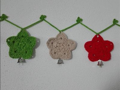 Guirnalda estrellas de navidad con campanas en crochet