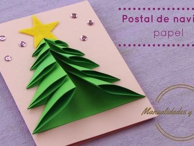 Manualidades de Navidad: Tarjeta Navideña de papel rápida y fácil. Manualidades y Recetas.