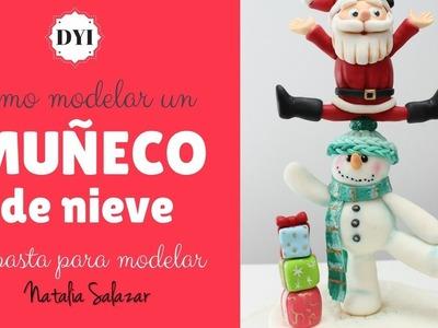 Modelado de muñeco de Nieve. DIY Snowman step by step.