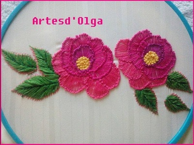 Pistil stitch rose embroidery|Rosas en puntada pistilo|Hand embroidery