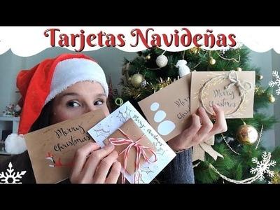 TARJETAS NAVIDEÑAS | 4 TARJETAS DIY para navidad |Tarjetas navideñas ORIGINALES FÁCIL Y RÁPIDO