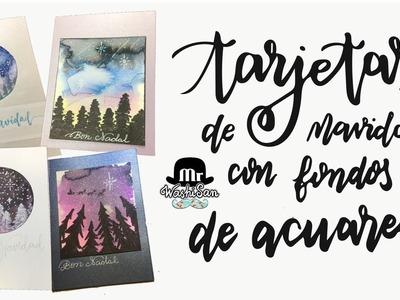 4 tarjetas de navidad con fondos de acuarela (bosque en noche estrellada)