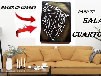 Aprende a hacer este cuadro para decorar tu HABITACIÓN O SALA | DIY.