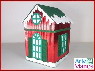 Caja para regalo, galletero o dulcero, Casa Navideña paso a paso